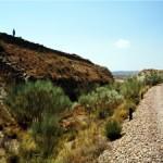 Restos del apartadero de las Minas del Tesorero en el PK. 108,100 de la línea Lorca-Baza (a la derecha).