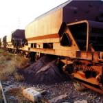 Estación de Huéneja-Dólar. Últimos vagones salidos de la minas del Marquesado que fueron apartados en 1996.
